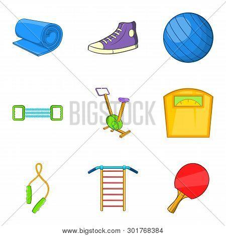 Gymnasium Icons Set. Cartoon Set Of 9 Gymnasium Icons For Web Isolated On White Background