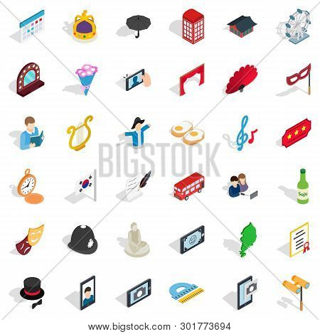 Ceremonial Icons Set. Isometric Set Of 36 Ceremonial Icons For Web Isolated On White Background