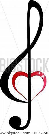 Shiny heart treble clef