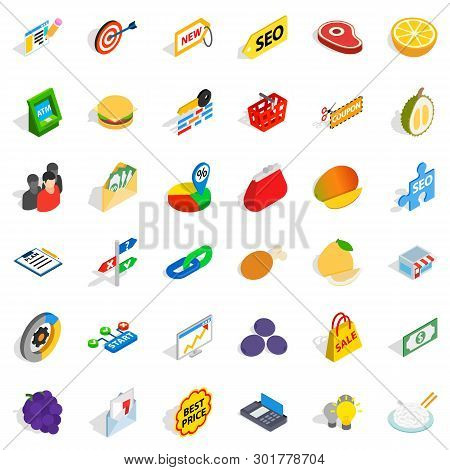 Fiscal Icons Set. Isometric Set Of 36 Fiscal Icons For Web Isolated On White Background