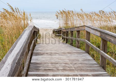 Boardwalk Over A Sand Dune In Myrtle Beach, South Carolina