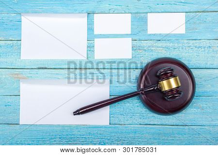 Law Concept. Business Card. Corporate Stationery Set Mockup. Blank Textured Brand Id Elements On Woo