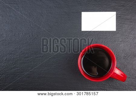 Blank Business Cards, Cup Of Coffee On The Wooden Table. Template For Id. Top View. Blackboard