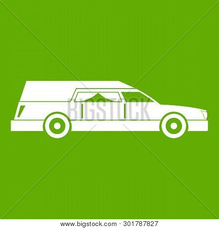 Hearse Icon White Isolated On Green Background. Illustration