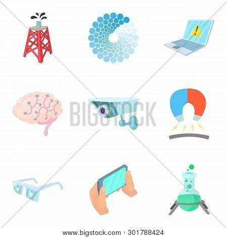 Leading Edge Technology Icons Set. Cartoon Set Of 9 Leading Edge Technology Icons For Web Isolated O