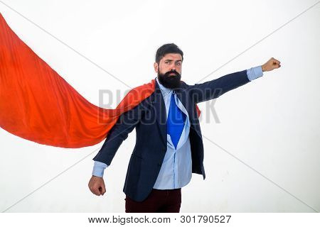 Superman Flying. Business. Enthusiasm. Super Businessmen. Business Concept. Superhero In Red Cape An