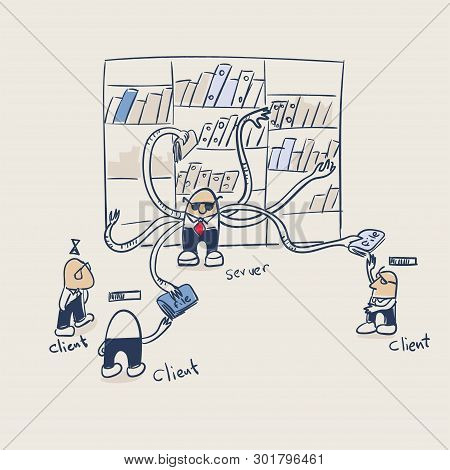 Client Server File Torrent Illustration Vector Doodle Sketch