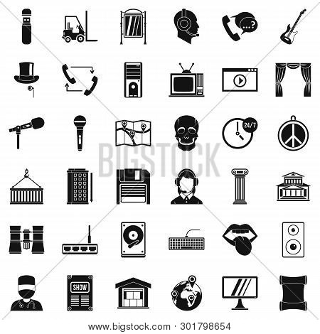 Tech Widget Icons Set. Simple Set Of 36 Tech Widget Icons For Web Isolated On White Background