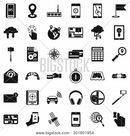 Wireless Widget Icons Set. Simple Set Of 36 Wireless Widget Icons For Web Isolated On White Backgrou