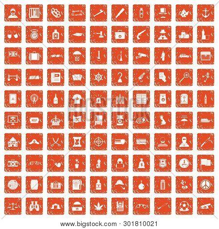 100 Offence Icons Set In Grunge Style Orange Color Isolated On White Background Illustration