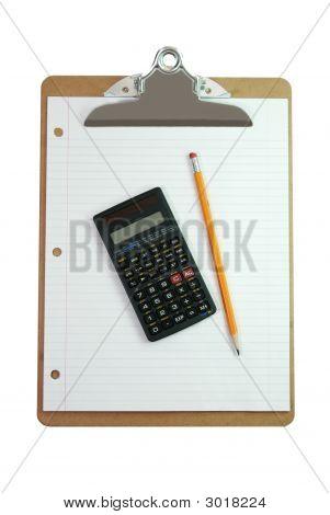 Clipboard, Calculator, Pencil, And Paper