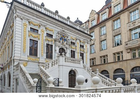 Leipzig, Germany - October 2018: Historic Baroque Style Building Of The Old Stock Exchange At Naschm