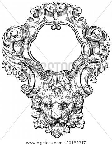 Vintage frame & lion head. Bitmap copy my vector drawing