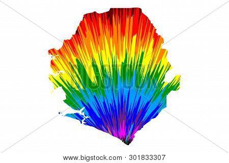 Sierra Leone - Map Is Designed Rainbow Abstract Colorful Pattern, Republic Of Sierra Leone (salone)