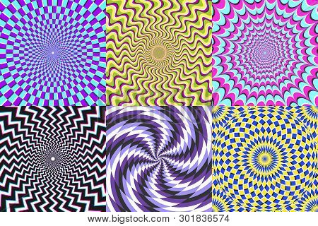 Psychedelic Spiral. Optical Illusion, Delusion Spirals And Colorful Abstraction Hypnosis Spiral Vect