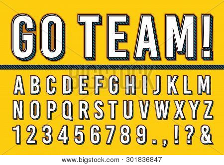 Sport Letters Font. College Sports Team Typography Lettering, Sporting Fonts Alphabet And Campus Num