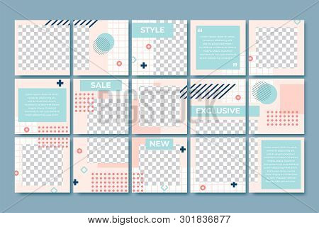 Memphis Style Post Template. Social Media Posts Branding, 80s Fashion Minimal Grid And Trendy Abstra