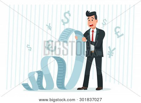 Pay Big Bill. Businessman Holding Long Bill, Shocked By Payment Amount And Paying Finance Bills Cart