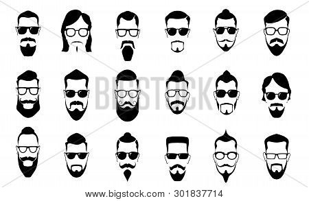 Male Moustache, Beard And Haircut. Vintage Moustaches Silhouettes, Man Hairstyle And Guy Face Portra