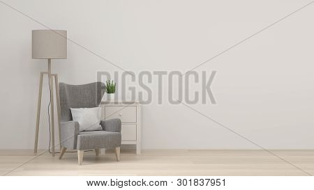 Modern Room With Armchair And Cabinet And Floor Lamp In Empty Room Interior Background Home Designs