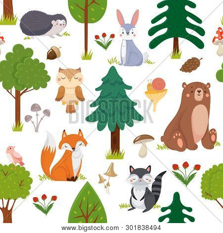 Seamless Woodland Animals Pattern. Summer Forest Cute Wildlife Animal And Forests Floral Cartoon Vec