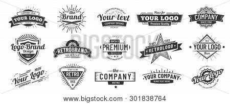 Vintage Badge. Retro Brand Name Logo Badges, Company Label And Hipster Frame Vector Illustration Set