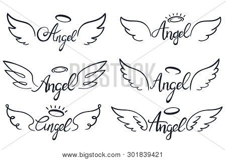 Angel Wings Lettering. Heaven Wing, Heavenly Winged Angels And Holy Wings Sketch Vector Illustration