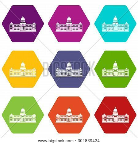 Palace Of Congress In Buenos Aires, Argentina Icon Set Many Color Hexahedron Isolated On White Illus
