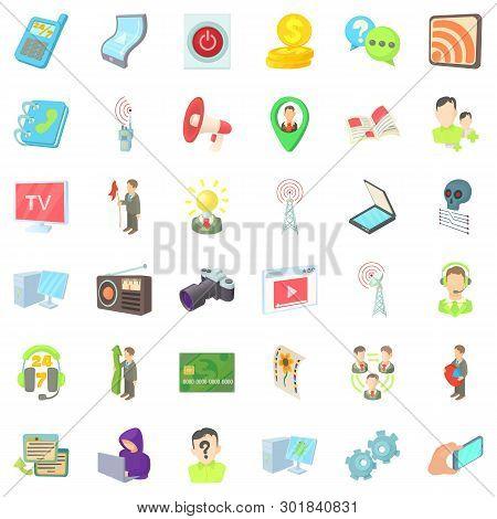 Video Environment Icons Set. Cartoon Set Of 36 Video Environment Icons For Web Isolated On White Bac