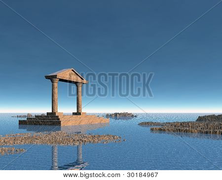 Sea With Rocky Islands And An Ancient Stone Building