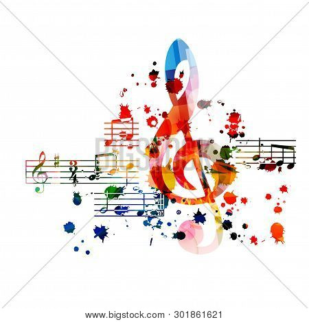 poster of Music background with colorful G-clef and music notes vector illustration design. Artistic music festival poster, live concert events, party flyer, music notes signs and symbols