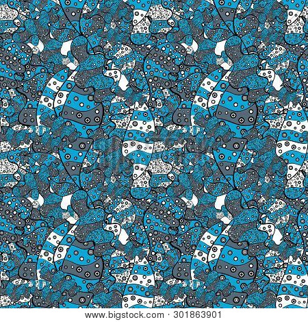 Abstract Pattern For Wrapping Paper Vector Illustration. Doodles Blue, Black And Neutral On Colors.