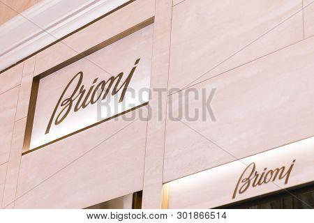 Las Vegas, Nevada, Usa - 13 May, 2019: Brioni Store In Wynn Hotel In Las Vegas. Brioni Is An Italian
