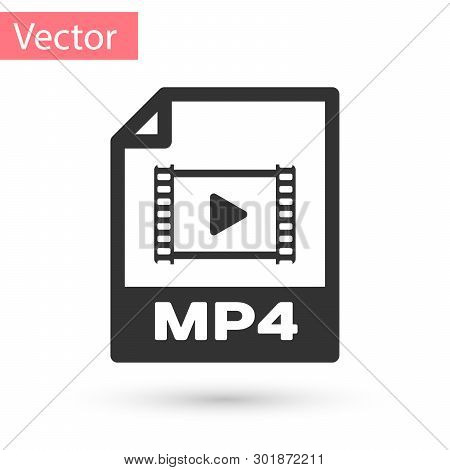 Grey Mp4 File Document Icon. Download Mp4 Button Icon Isolated On White Background. Mp4 File Symbol.