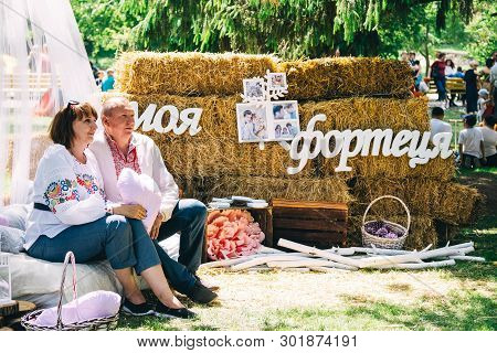Dnipro / Ukraine - May 18, 2019: Charity Family Festival: Family In Embroidery Is Photographed In Th