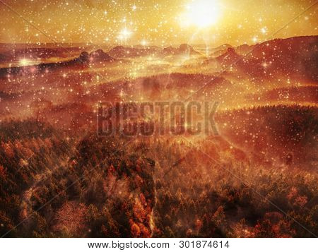 Fantasy Effected Landscape With Trees In A Forest And Rounded Hills.  Grunge Background In Amazing T