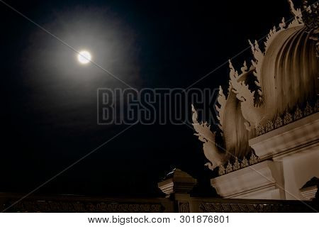 Art Architecture Of Wat Temple On Thai Buddha Style In The Full Moon Day.