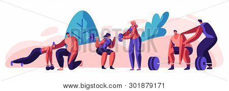 People Training In Gym With Coach Help. Male And Female Characters In Sports Wear Workout With Weigh