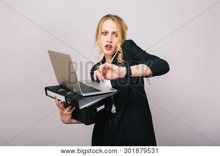 Work Office Busy Time Of Blonde Young Woman In Formal Clothes With Laptop, Folder Talking On Phone O