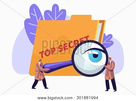 Police, Intelligence Service, Spies, Watchers Searching For Top Secret Files With Magnifier Glass. P