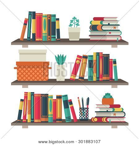 Flat Bookshelves. Shelf Book In Room Library, Reading Book Office Shelf Wall Interior Study School B
