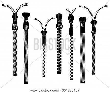 Zippers. Closed Open Zip Pulls. Zipper, Metal Silver Fastener. Unzip Textile Fabric Clothes Accessor