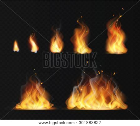 Realistic Flame. Hot Fireball Warm Furnace Fire Blazing Effect Abstract Torch Red Flames Flaming Iso