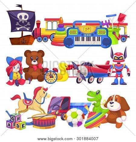 Toy Piles. Cute Colourful Kid Toys Pile With Car, Sand Pail, Child Plastic Animal Bear And Dog, Doll