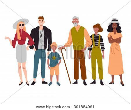 Group Of Diverse People Mixed Age Standing Together.