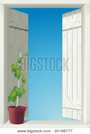 window and sky. detailed vector isolated illustration. All elements layered separately in vector file.