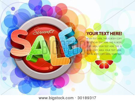 Vector 3d summer sale design template. All elements are layered separately. Easy editable eps10 file.