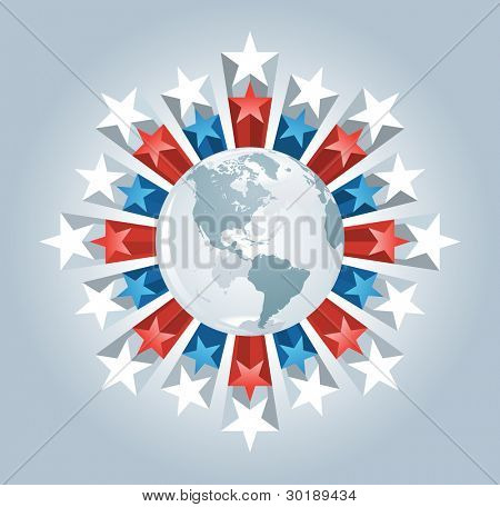 Vector globe and stars burst. Elements are layered separately in vector file.
