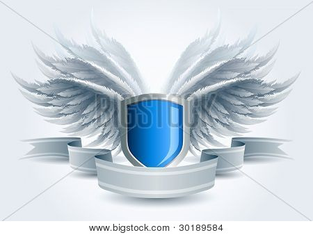 Winged shield banner. Security concept. Elements are layered separately in vector file. Easy editable.