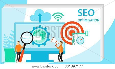 People Team Work Together On Seo. Modern Flat Design Concept Of Seo Optimization For Website And Mob